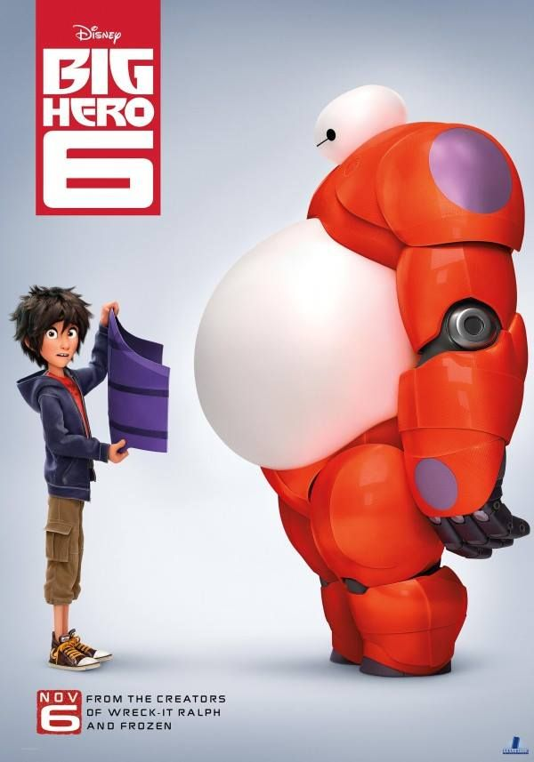Art poster Big Hero 6, new Disney movie!! // so excited for this movie. If Hiro Hamada does not have a cute Japanese accent I will riot. Also, I'm glad Disney's making more PoC characters. This is the second Asian-main-character movie I believe, since Mulan.