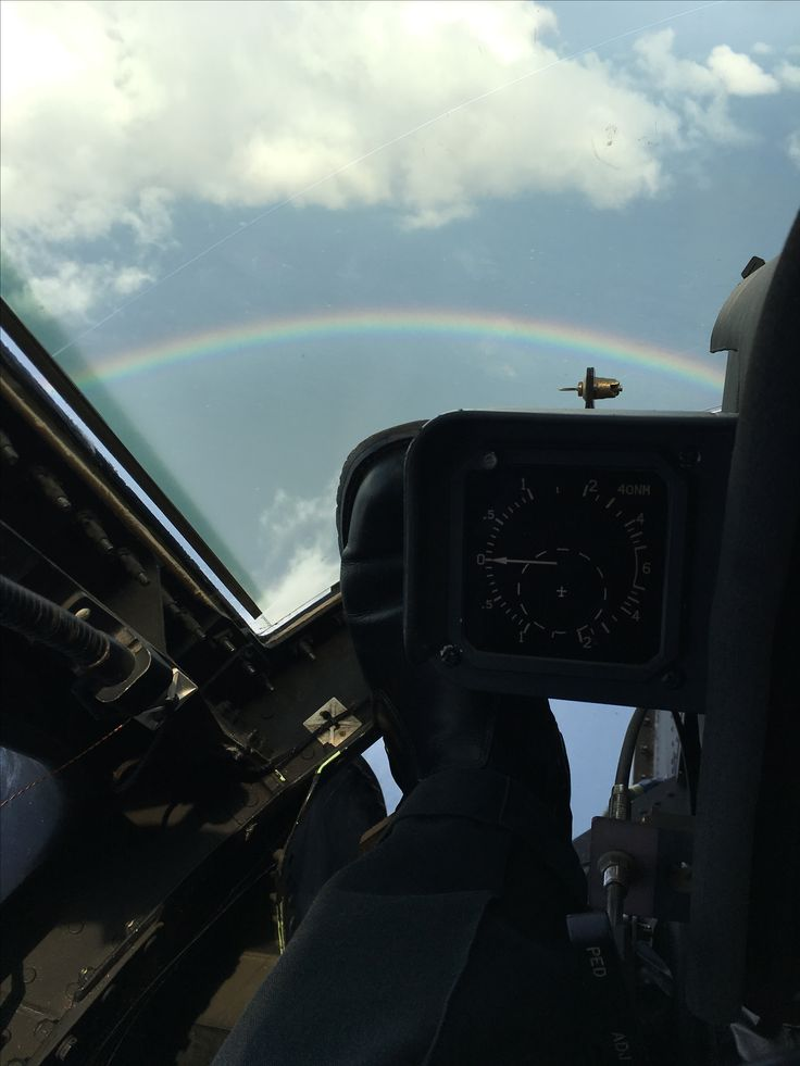 Rainbow around the helicopter.