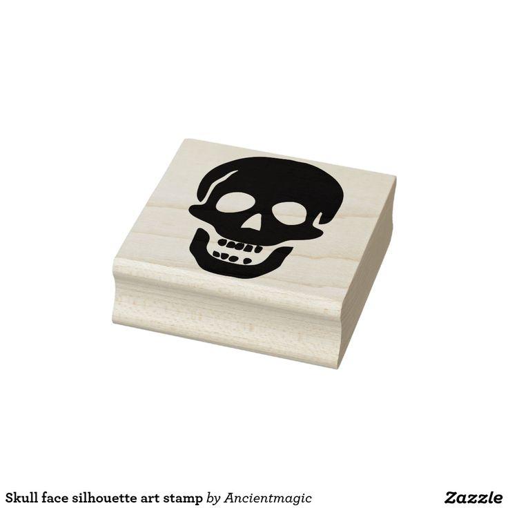 Skull face silhouette art stamp