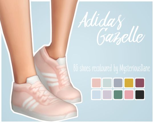 "mysteriousdane: "" Adidas Gazelle So I recently got a pair of adidas sneakers like the ones in the preview and since I absolutely adore some of the other colours, I figured I'd make some for my sims to..."