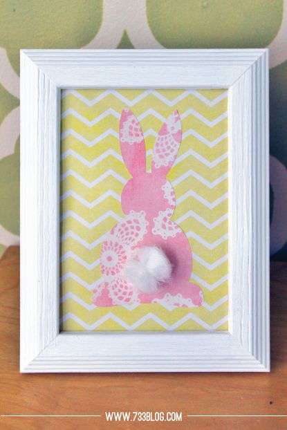 Bunny Decor | Scrapbook paper or fabric art| Via @seven thirty three - - - a creative blog