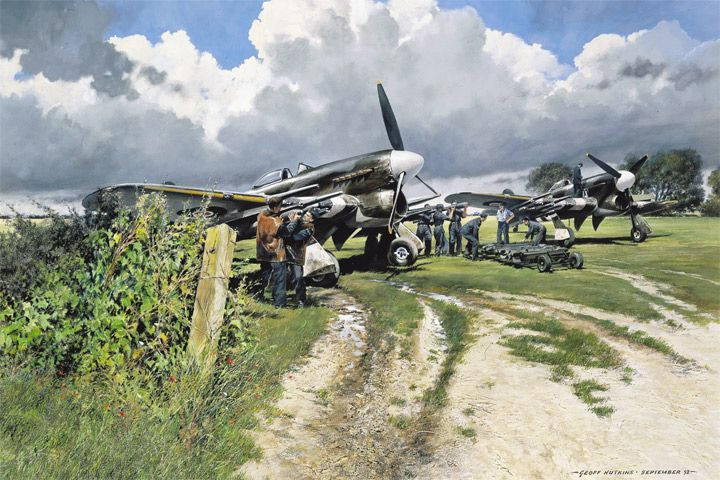 """""""Double Trouble"""" - Armourers load rockets onto Hawker Typhoons of No.609 Squadron in readiness for the start of the offensive in Europe. Thorney Island, June 1944.   Aviation art by Geoff Nutkins"""