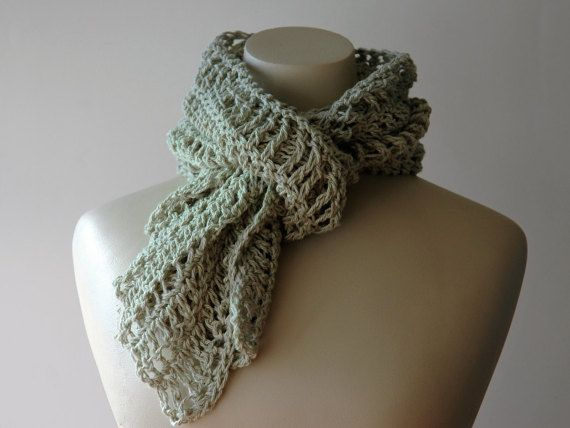 Crochet cotton scarf in soft moss green by KororaCrafters