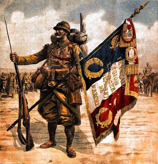 Porte drapeau du regiment de marche de la légion étrangère 1918 http://aufildesmotsetdelhistoire.unblog.fr/2013/05/09/historique-de-la-legion-etrangere-1/