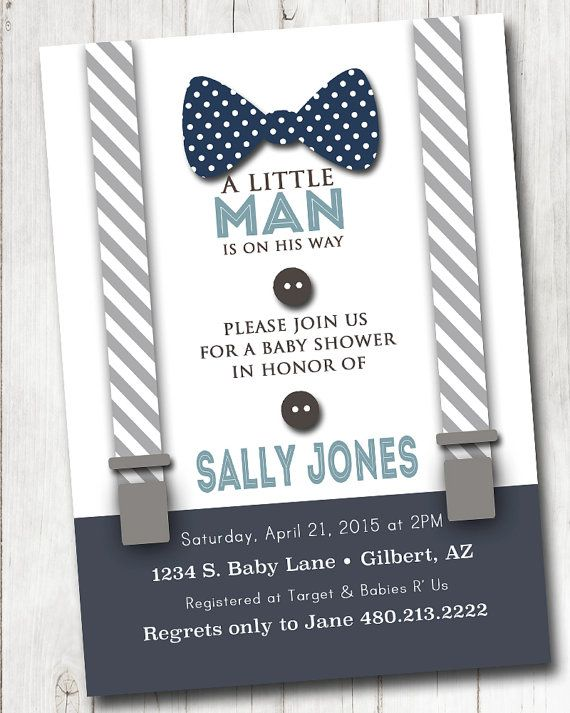 Boy Baby shower Invitation with bow tie and by PieceOfCakeStudio