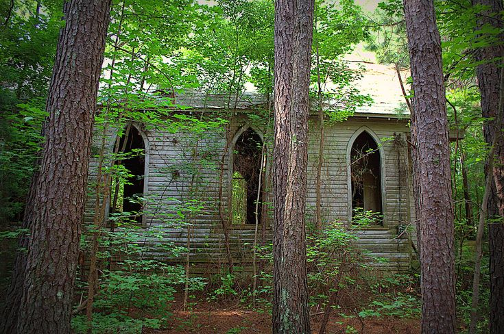 Abandoned church in North Carolina woods. by jewel