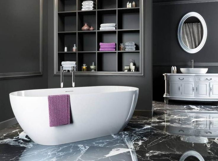 Elegant Bathroom In Black Grey And White Interior And Marble Floor