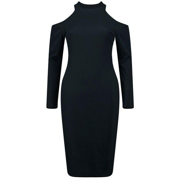 Boohoo Phillippa Ribbed Cold Shoulder Midi Dress | Boohoo (485 UAH) ❤ liked on Polyvore featuring dresses, ribbed bodycon dress, cocktail dresses, midi cocktail dress, midi evening dresses and blue dress