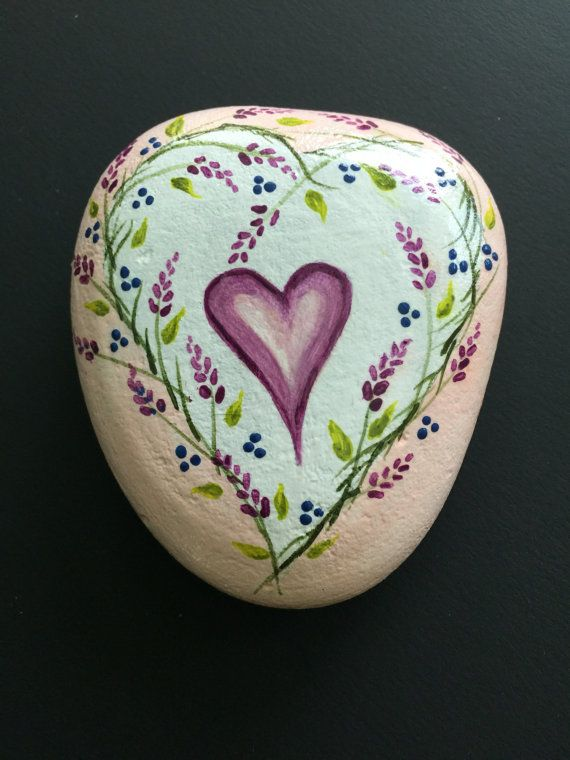HEART - Painted Rock Art - Love - wedding - anniversary - birthday - gift - sweet - floral - hand painted - whimsical - fairy garden - victo