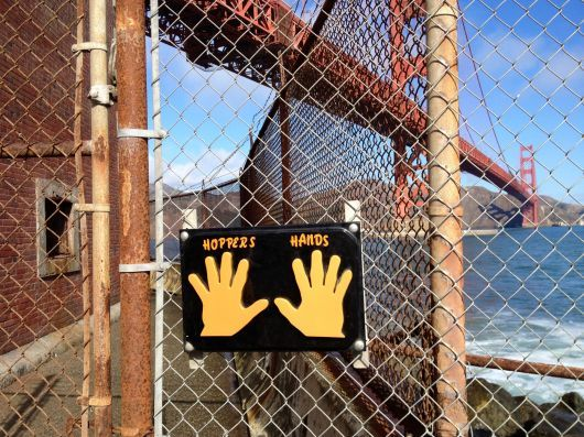 Hopper's Hands – High five at the bridge.  Nearly all San Francisco runners have touched these hands before turning around.