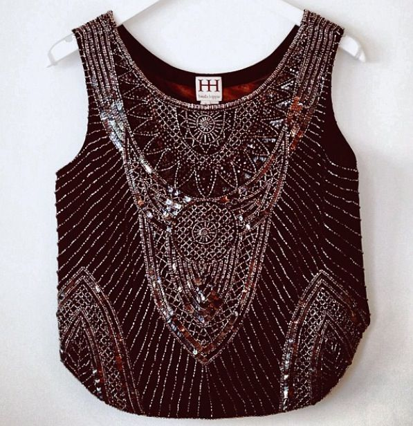Haute Hippie Fun metallic crop top!  Once again details, detail, details!  Great paired with shorts, a short tight skirt or a maxi!