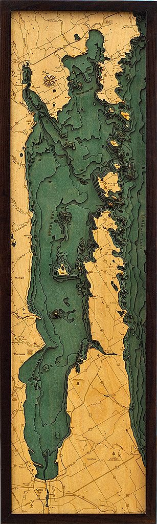 3 Dimensional Topographic Lake ArtDOOR COUNTY by LakeMapsInk, $298.00