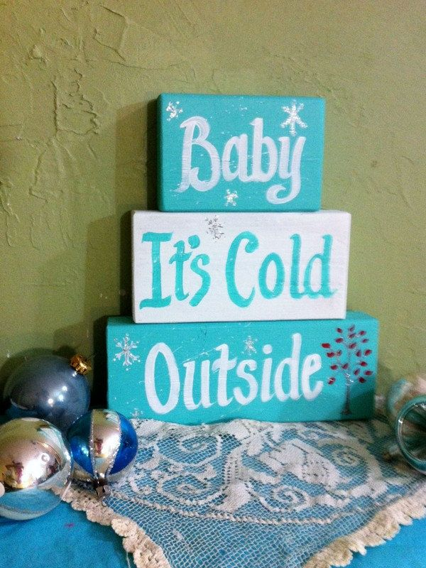 Baby its cold outside sign stacking wood blocks by trimblecrafts, $24.99