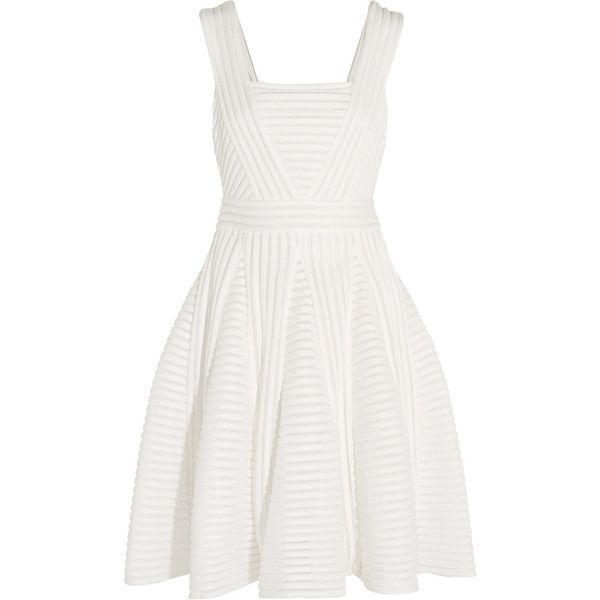 Maje Striped mesh and jersey mini dress ($155) ❤ liked on Polyvore featuring dresses, white, short loose dresses, stripe dress, mesh dresses, white mesh jersey and short fitted dresses