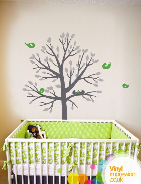 Nesting Tree Vinyl Wall Sticker By Vinylimpression On Etsy