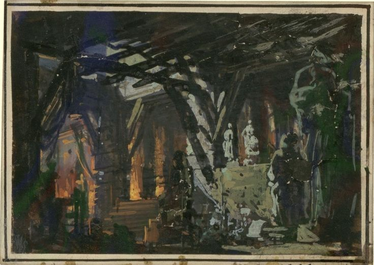 """Set design (1862), Philippe Chaperon by (1823-1906), for Act 1, Scene 1, of """"La Reine de Saba"""" (1862), by Charles Gounod (1818-1893)."""
