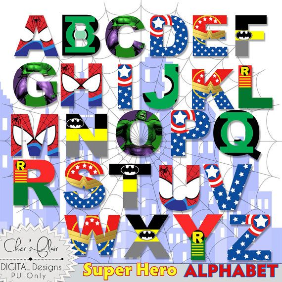 SUPERHERO ALPHABET LETTERS Superhero Digital by DigitalPackages