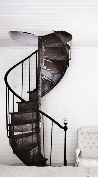pinterest.com/fra411 #stairs -  iron spiral staircase and white