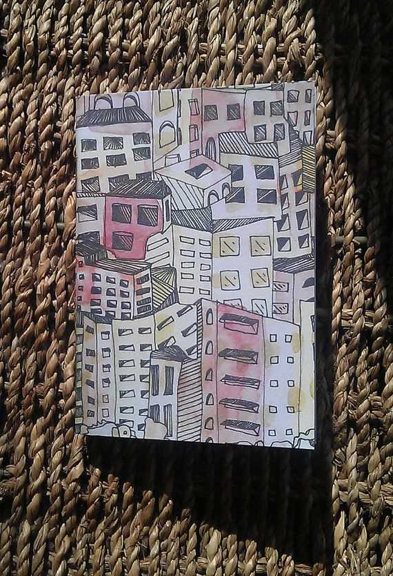 A7 illustrated notebook  cityscape design  plain by KELLEERICH, £2.00  #notebook #handmade #illustrated