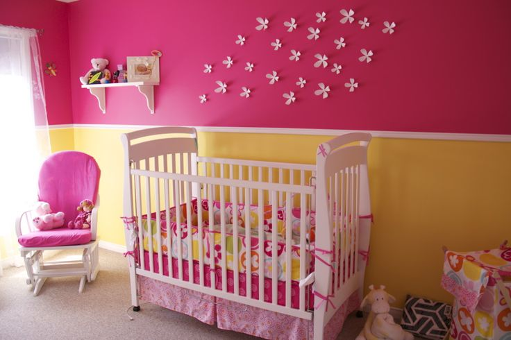 Project Nursery - Pink and Yellow Girl Nursery Crib View