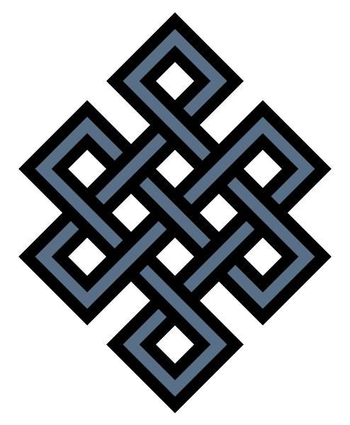 The Endless Knot is a symbol mostly used in Tibetian Buddhism. It symbolizes the endless cycle of birth, death and rebirth. Also it can mean an endless Love and Friendship. Since the knot has no beginning or end it also symbolizes the wisdom of the Buddha.