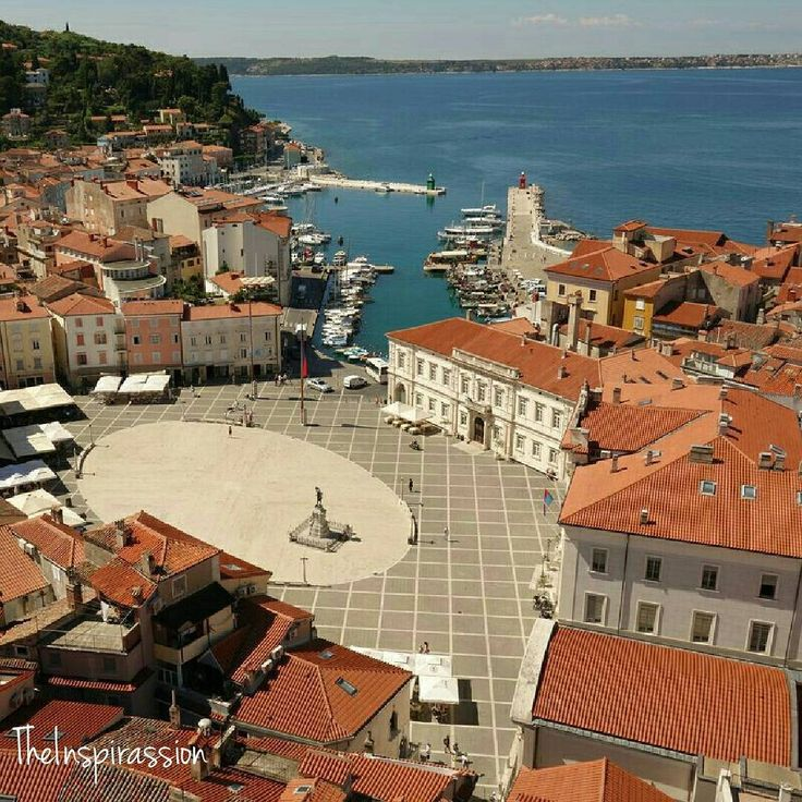 Slovenia travel. Slovenia coast. Piran. Pirano. Tartinijev trg. The Tartini square from St. George church bell tower. One year ago I did not know that Slovenia is a maritime state. Today I know that one day I will return. Be inspired by @theinspirassion