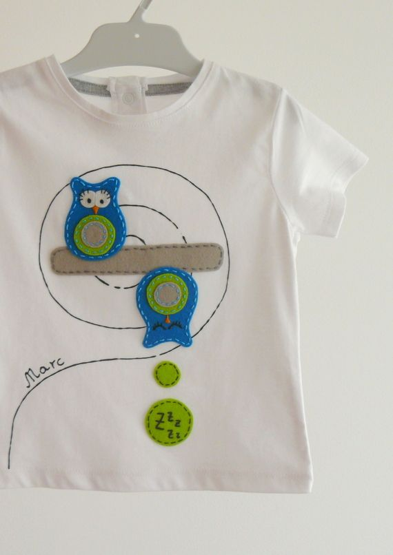 """Camiseta """"Búho durmiente"""" / punt a punt - Artesanio"""