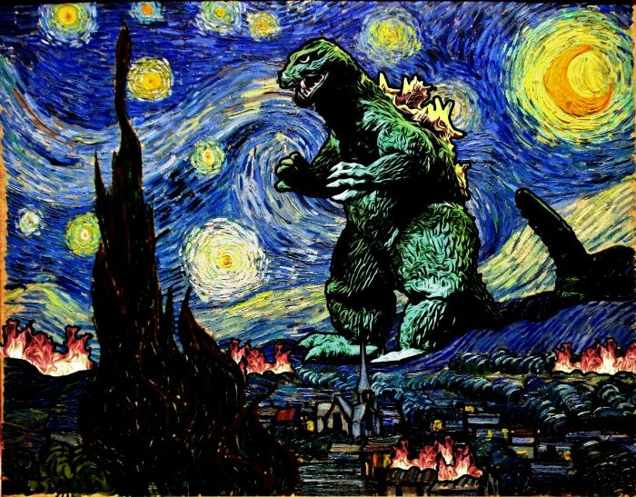 ARTIST: Kamonkey - Vincent van Gogh's Starry Night / Godzilla (Gojira) mashup -  Prints, Phone cases & more @ https://society6.com/product/godzilla-versus-starry-night_print?curator=yellowmenace#s6-1993274p4a1v45