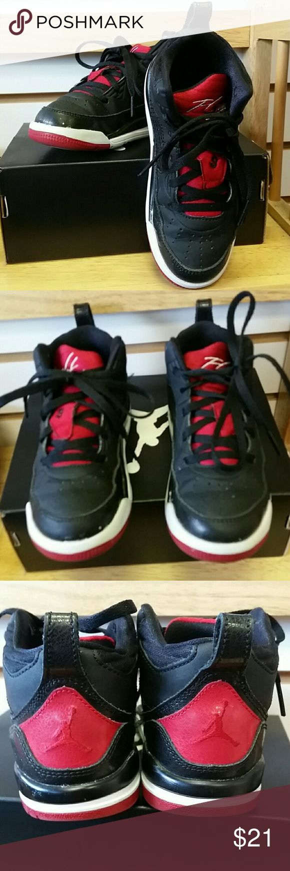Boys Jordan Flight sneakers Vguc black and red  ships with box Jordan Shoes Sneakers