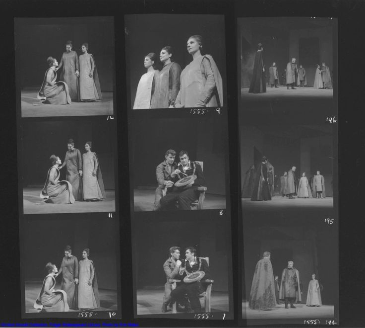 Peter Brook's King Lear, 1962. Shots 9 to 12: Diana Rigg (Cordelia), Irene Worth (Goneril), and Patience Collier (Regan). Shots 7 & 8: Brian Murry (Edgar) and James Booth (Edmund). Shots 194 to 196: Irene Worth (Goneril), Tom Fleming (Kent), Paul Scofield (King Lear), Patience Collier (Regan), Tony Church (Cornwall).