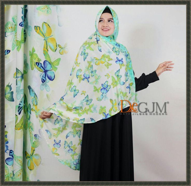 Jilbab Khimar Motif Terbaru Cantik Modern Buterfly deGJM Hijab