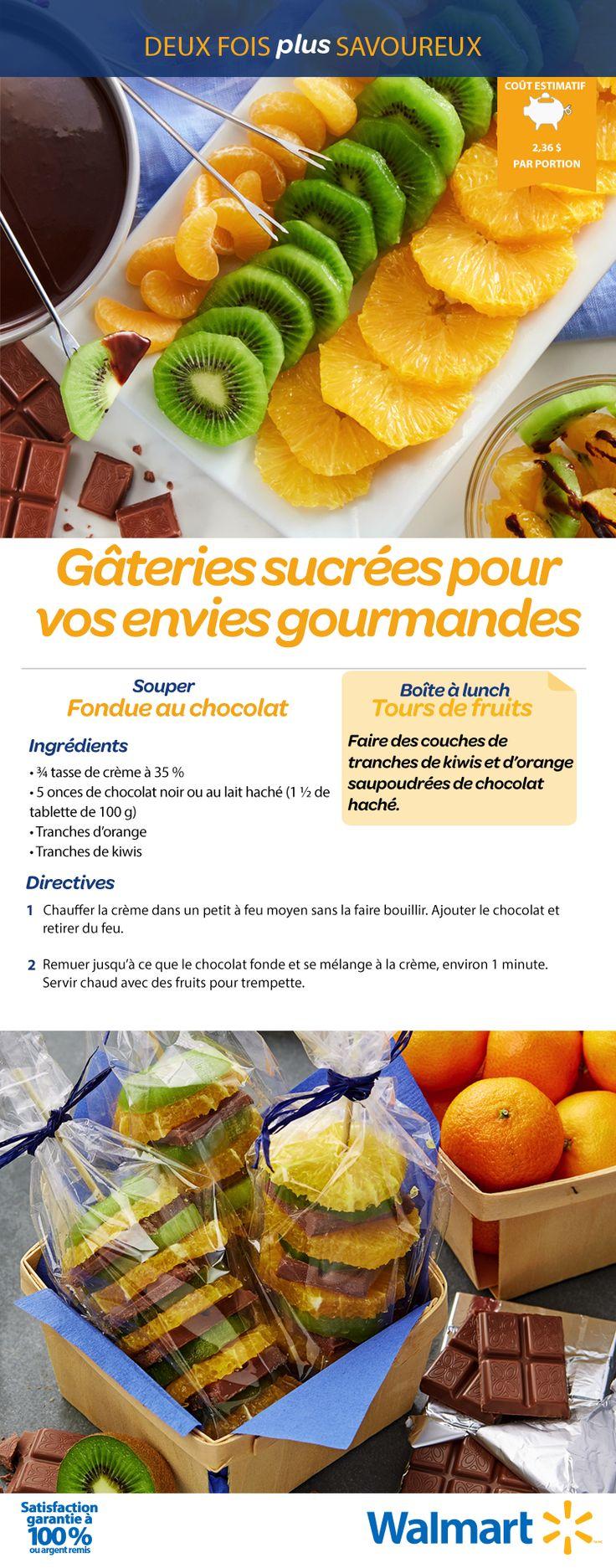 Une gâterie sucrée, deux fois! Essayez une fondue au chocolat avec des oranges etdes kiwis (c'est divin!). Puis, gâtez vos petits à l'heure du dîner avec des tours de fruits, en superposant des fruits et du chocolat haché. #RecettesRentréeDesClasses
