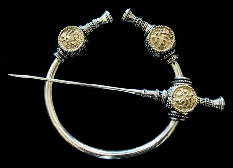"""Viking Thistle Brooch 9th - 11th Century Rich distinctive detail  4"""" Diameter 6"""" Pin   his page contains a collection of handcrafted  Museum Replica Penannular Style Brooches as well as Oval Brooches, Trefoil Brooches, Disk Brooches,  Roscrea Brooches and Fibulae in Silver and Bronze. At the bottom of this page, you can find various Clasps and Pins."""