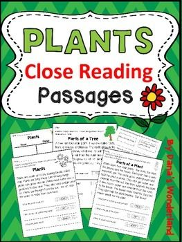 Plants Close Reading Passages and Activities - This reading comprehension resource includes 4 plants passages, a plant parts /plant needs sort, a True/False sort activity related to plants, and a writing activity related to trees.Included:*Plants (close read)*Parts of a Plant(close read)*Trees (close read) - tells about the importance of trees*Parts of a Tree (close read)*Plant Parts/Plant Needs Sort*True/ False chart*statements about plants to be sorted on the True/ False chart*write 3…
