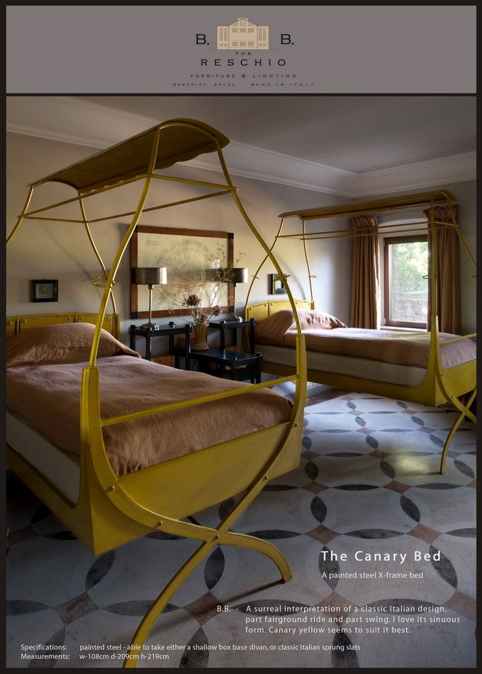 BB for Reschio - The Canary Bed -  A painted steel X-frame bed - B.B. - A surreal interpretation of a classic Italian design, part fairground ride and part swing. I love its sinuous form. Canary yellow seems to suit it best. www.reschio.com