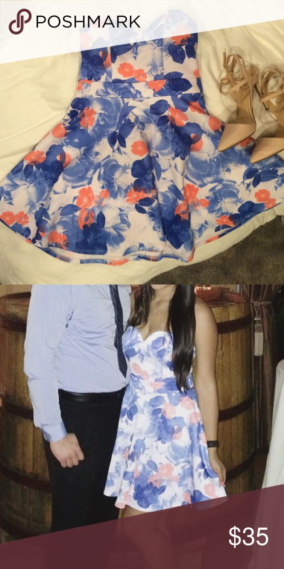 Floral pink blue and white dress. Sweetheart  dress. Worn once as a wedding guest. Like new WINDSOR Dresses Mini