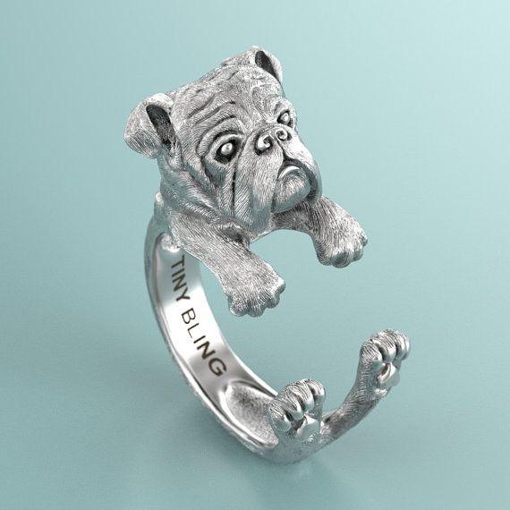 English Bulldog Breed Jewelry Cuddle Wrap Ring