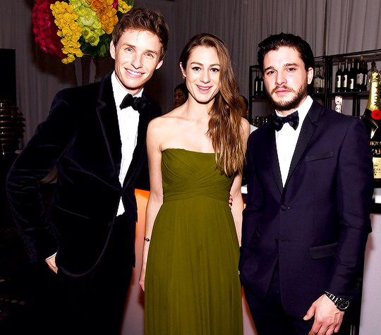 Eddie Redmayne, wife Hannah Bagshawe and Kit Harington at the 72nd Annual Golden Globe Awards