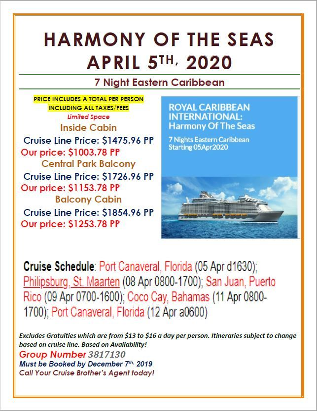 Cruise Specials For Cruise Brothers Clients Cruise Specials Harmony Of The Seas Cruise