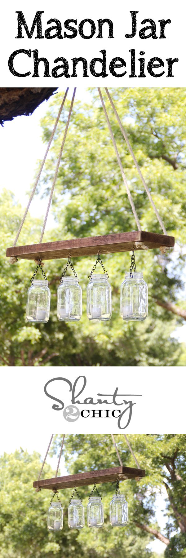 DIY Mason Jar Chandelier!  Super cute! Calling my sweet son-in-law to make me one of these in exchange for one of his fave meals