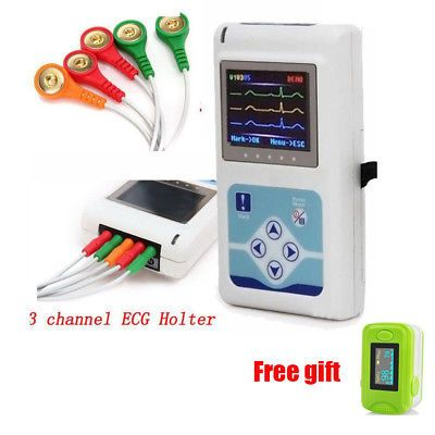 24Hrs Holter Recorder with Software 3-channel ECG EKG Holter Monitoring Contec
