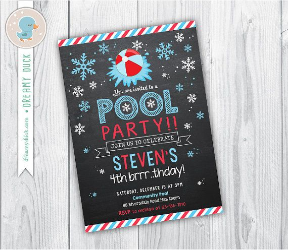 Winter Pool Invitation / Winter Kids Pool Party by DreamyDuck