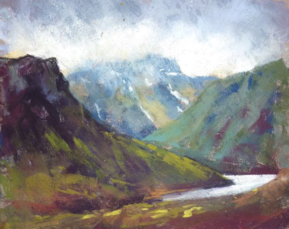 ICELAND Art Plein air Dramatic Landscape by KarenMargulisFineArt, $150.00