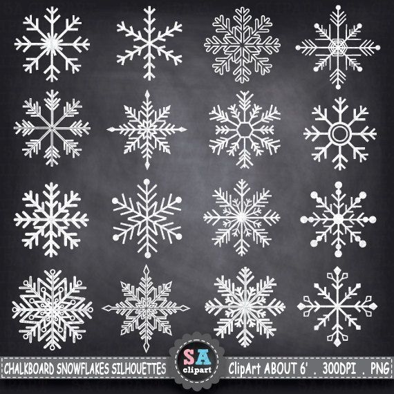 "SALE Chalkboard Snowflakes ClipArt ""SNOWFLAKES SHIHOUETTE ""  ,christmas clipart,Snowflakes clip art ,Winter,Snow,Instant Download Crs007 on Etsy, $3.00"