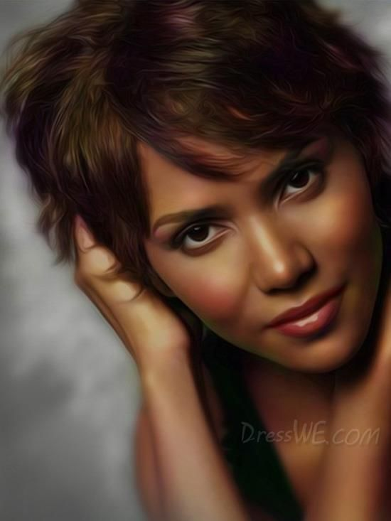 Lovely #HalleBerry Short Straight Front Side Bang Hairstyle #HumanHairWig about 6 Inches 10943228 - #HumanHair