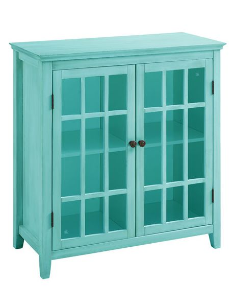 The Largo Double Door Cabinet in Turquoise is a stylish and versatile accent piece. Perfect for placing in a living room or bedroom, the cabinet features double doors, interior shelf and a glass fr...