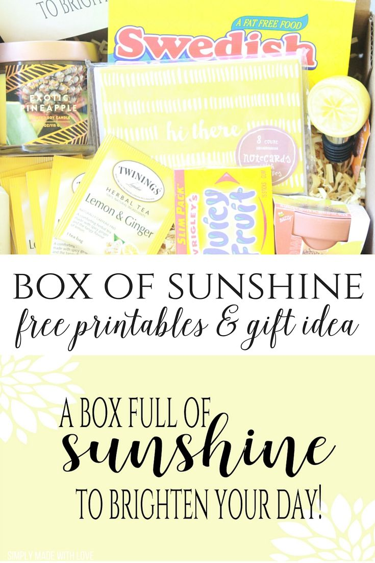Simply Made with Love- A Box Full of Sunshine Gift Idea and Free Printable.