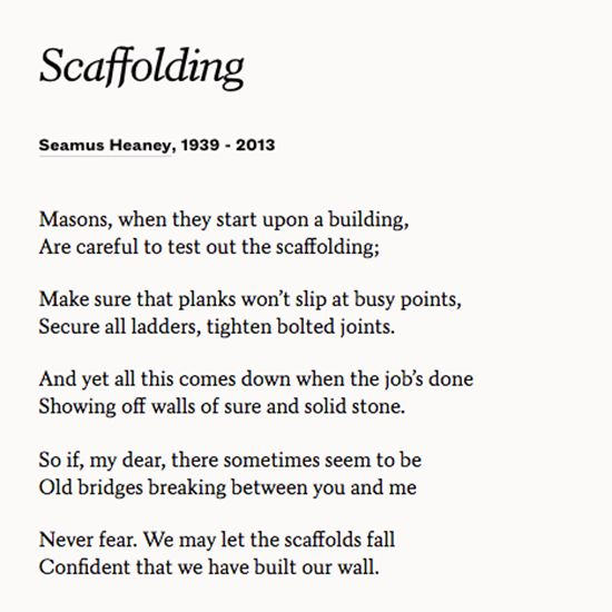 "Enjoy Seamus Heaney's Poem ""Scaffolding"" And Marvel At The"