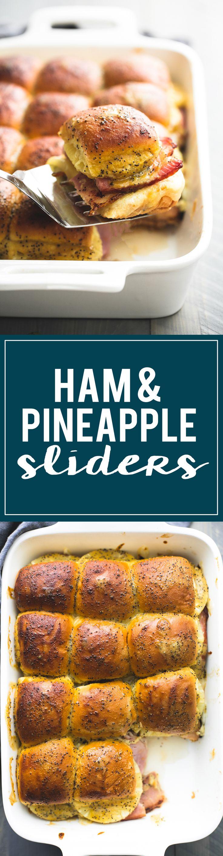 Hot Hawaiian Ham & Swiss Cheese Sliders with pineapple and brown sugar dijon poppyseed sauce are seriously addictive!!! | lecremedelacrumb.com