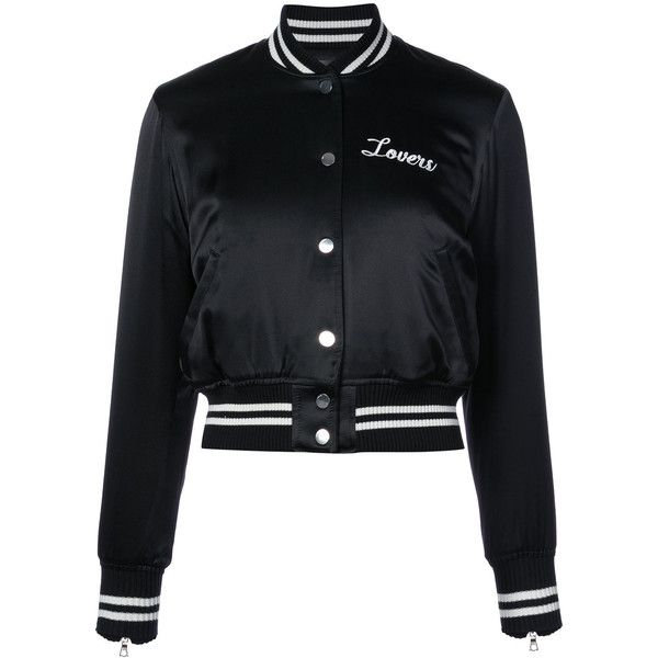 Amiri Lovers baseball jacket found on Polyvore featuring outerwear, jackets, black and silk jacket